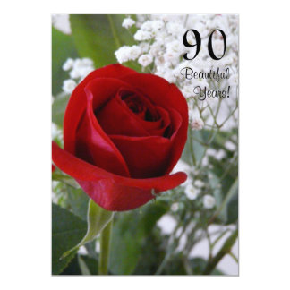 90th Birthday Celebration-Red Rose 13 Cm X 18 Cm Invitation Card