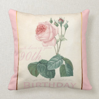 90th Birthday Celebration Vintage Rose Pillow Cushions