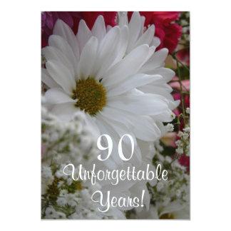 "90th Birthday Celebration/White Daisy Bouqet 5"" X 7"" Invitation Card"
