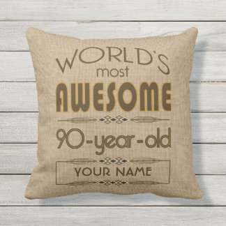 90th Birthday Celebration World Best Fabulous Outdoor Cushion
