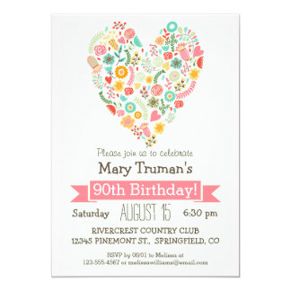 90th Birthday, Cute Floral Heart Birthday Party 13 Cm X 18 Cm Invitation Card
