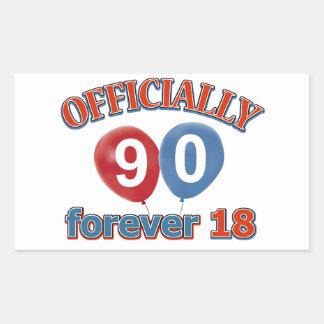 90th birthday designs rectangular sticker