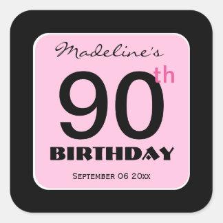90th Birthday Elegant PINK BLACK Custom Name 9 Square Sticker