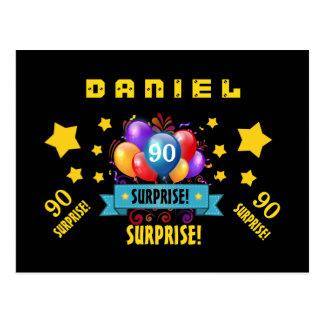 90th Birthday Festive Balloons and Stars B407 Postcard