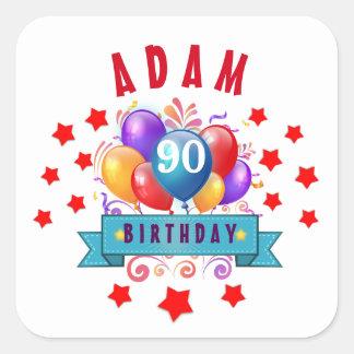 90th Birthday Festive Colorful Balloons C01IZ Square Sticker