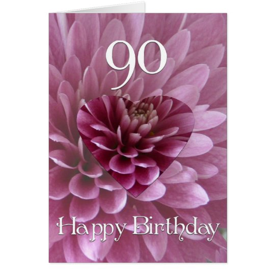 90th Birthday-Floral Heart+Chrysanthemum Card
