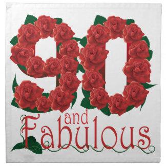 90th birthday flower napkin