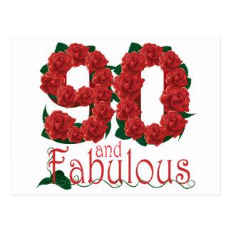 90th birthday flower postcard