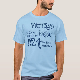 90th Birthday Gift 1924 Vintage Brew Blue T-Shirt