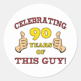 90th Birthday Gift For Him Round Sticker