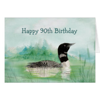 90th Birthday Humor Watercolor Loon Bird Nature Greeting Card