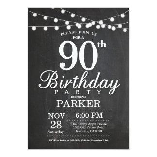 90th Birthday Invitation Chalkboard String Lights
