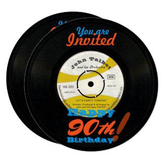 90th Birthday Invite Retro Vinyl Record 45 RPM