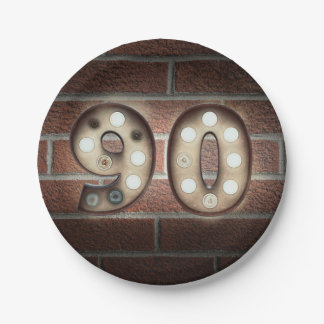 90th birthday marquee sign on brick wall paper plate