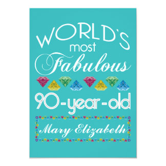 90th Birthday Most Fabulous Colorful Gem Turquoise 13 Cm X 18 Cm Invitation Card