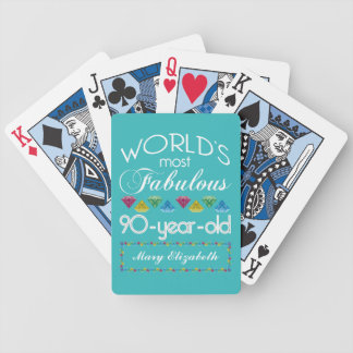 90th Birthday Most Fabulous Colorful Gem Turquoise Bicycle Playing Cards