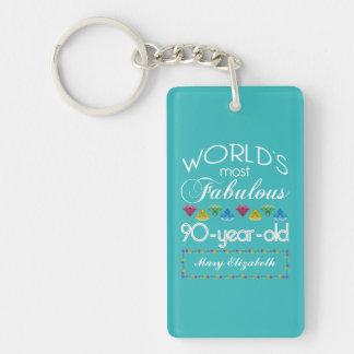 90th Birthday Most Fabulous Colorful Gem Turquoise Double-Sided Rectangular Acrylic Keychain