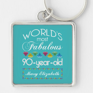 90th Birthday Most Fabulous Colorful Gem Turquoise Keychains