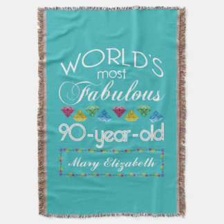 90th Birthday Most Fabulous Colorful Gem Turquoise Throw Blanket