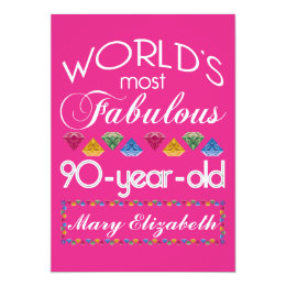 90 year old birthday cards invitations zazzle 90th birthday most fabulous colorful gems pink card bookmarktalkfo Image collections