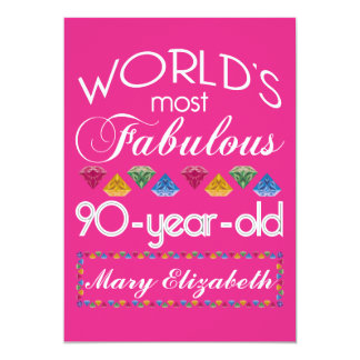 90th Birthday Most Fabulous Colorful Gems Pink Card