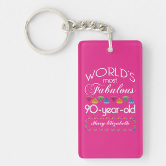 90th Birthday Most Fabulous Colorful Gems Pink Double-Sided Rectangular Acrylic Key Ring