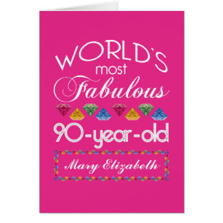 90th Birthday Most Fabulous Colorful Gems Pink Greeting Card
