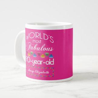 90th Birthday Most Fabulous Colorful Gems Pink Large Coffee Mug