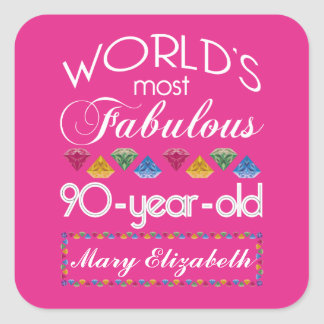 90th Birthday Most Fabulous Colorful Gems Pink Square Stickers