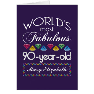 90th Birthday Most Fabulous Colorful Gems Purple Greeting Cards