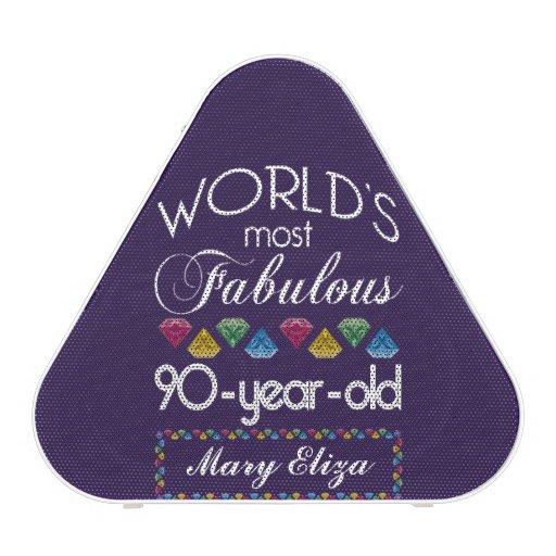 90th Birthday Most Fabulous Colorful Gems Purple Bluetooth Speaker