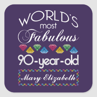 90th Birthday Most Fabulous Colorful Gems Purple Square Sticker