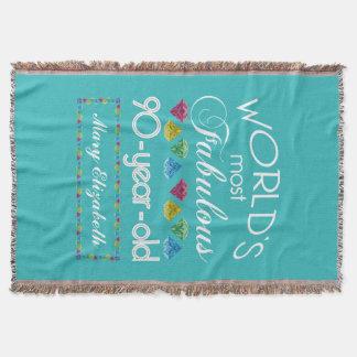 90th Birthday Most Fabulous Colourful Gem Throw Blanket