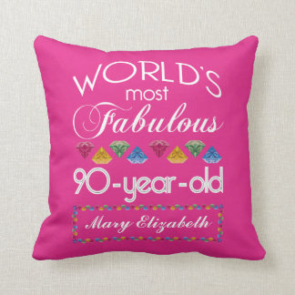 90th Birthday Most Fabulous Colourful Gems Pink Throw Pillow