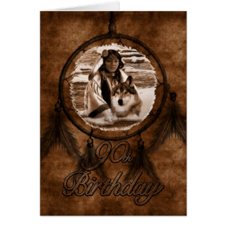 90th Birthday Native American Wolf Dreamcatcher Card