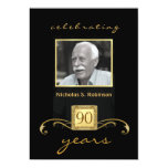 90th Birthday Party Black Gold - with photo 13 Cm X 18 Cm Invitation Card
