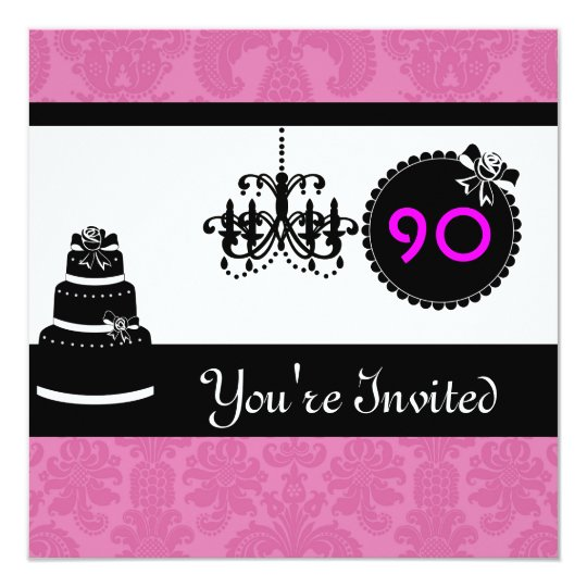 90th Birthday Party Black & White & PINK Damask In Card