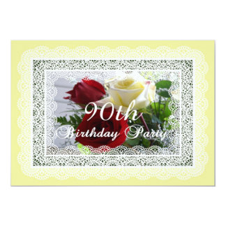 90th Birthday Party Celebration-Red/Yellow Roses 13 Cm X 18 Cm Invitation Card