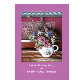 """90th Birthday Party Invitation, Flowers in Teapot 5"""" X 7"""" Invitation Card"""