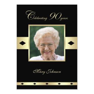 "90th Birthday Party Invitation -- Photo 90th 5"" X 7"" Invitation Card"
