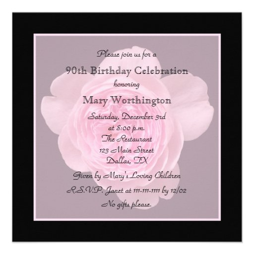 90th Birthday Party Invitation - Rose for 90th
