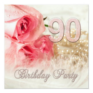 90th Birthday party invitation, roses and pearls 13 Cm X 13 Cm Square Invitation Card