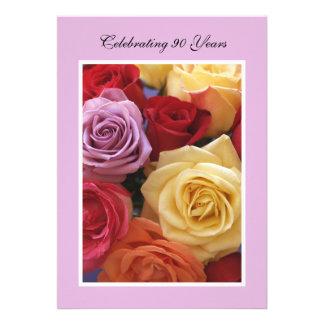 90th Birthday Party Invitation -- Roses Card
