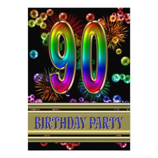 90th Birthday party Invitation with bubbles