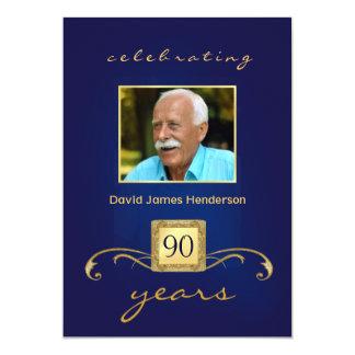 90th Birthday Party Invitations - Blue Monogram