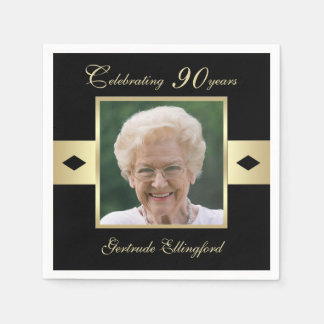 90th Birthday Party Photo on Black Paper Napkins