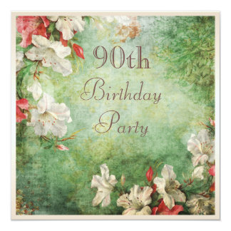 90th Birthday Party Shabby Chic Hibiscus Flowers 13 Cm X 13 Cm Square Invitation Card