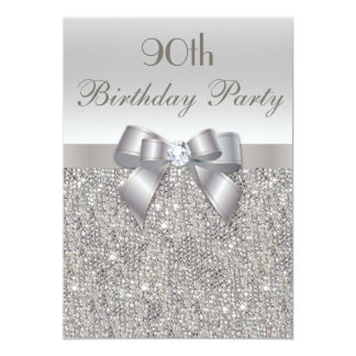 90th Birthday Party Silver Sequins, Bow & Diamond 13 Cm X 18 Cm Invitation Card