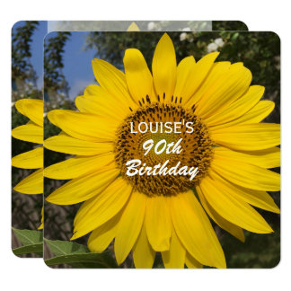 90th Birthday Party Sunflower Invitation