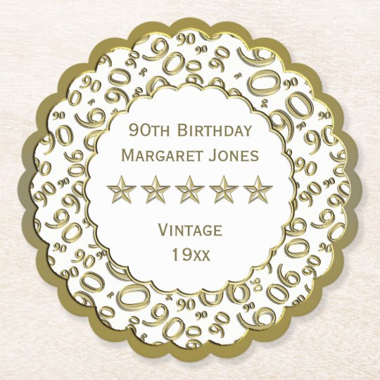 90th Birthday Party White /Gold Pattern Theme Paper Coaster